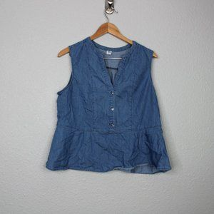 Old Navy Blue Chambray Peplum Sleeveless Blouse